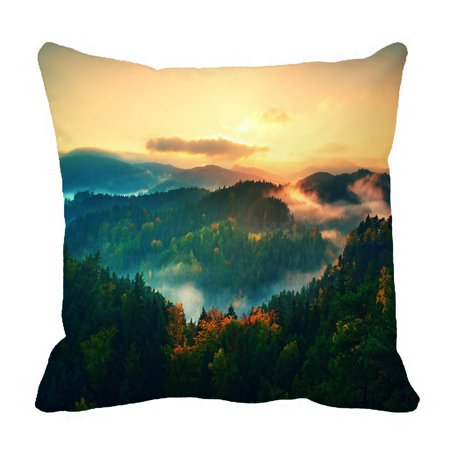 PHFZK Landscape Scenery Pillow Case, Misty Pine Forest and Mountain in Autumn Nature Pillowcase Throw Pillow Cushion Cover Two Sides Size 18x18 inches