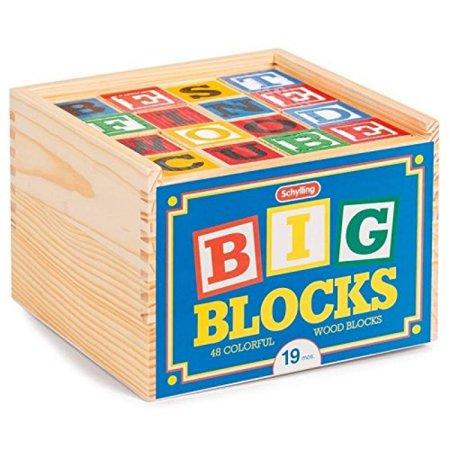 Wood Alphabet Blocks - Schylling ABC Big Blocks - 48 Piece Wood Alphabet Blocks