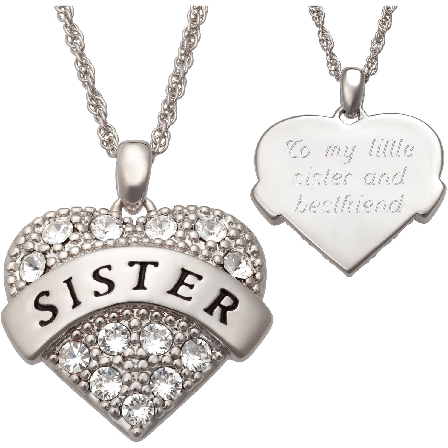 Personalized Crystal Rhodium-Plated Sister Heart Pendant