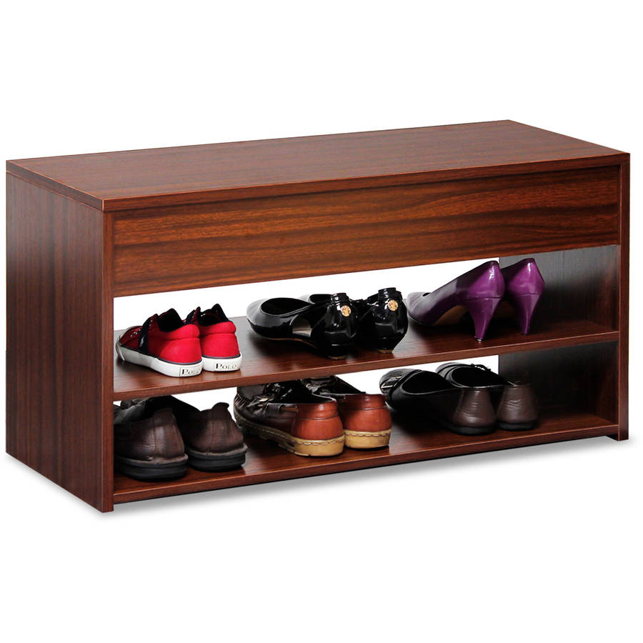 Furinno Boyate Shoe Storage Hallway Bench, Walnut