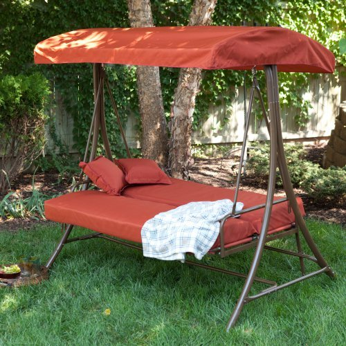 Coral Coast Siesta 3 Person Canopy Swing Bed - Terra Cotta