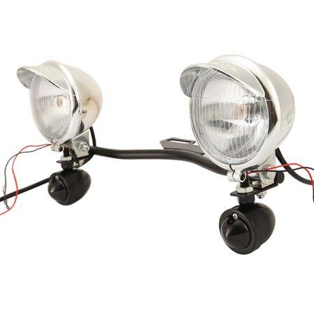 BEAMNOVA Motorcycle Passing Driving Light Bar Kit 1x Steel Light Bar 2x Bullet LED Turn Signals 2x Motorcycle Passing Lights