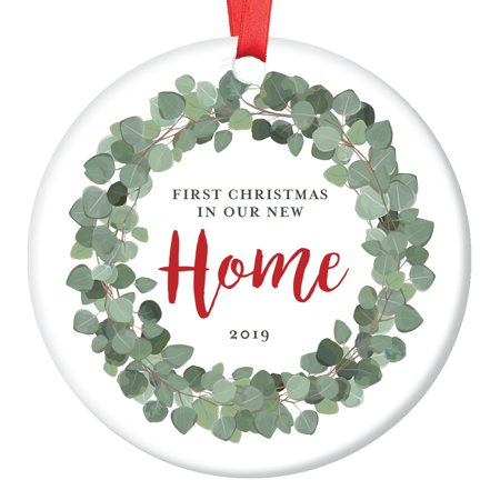 New Homeowner 1st Christmas 2019 Eucalyptus Wreath Dated Ornament Housewarming Family Wedding Realtor Gift Beautiful Natural Flora Vine & Script Style Sleek Porcelain Flat 3