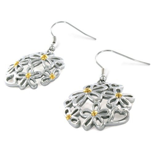 West Coast Jewelry Two Tone Flowers and Hearts Earrings