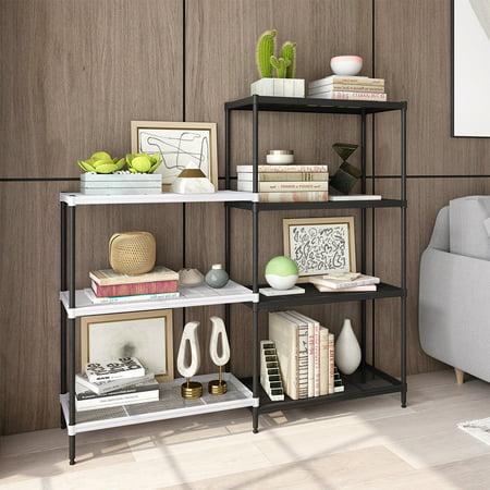 Storage racks and shelving, Rackaphile 4+3 Tier Bookshelf Adjustable  Shelving Metal Storage Display Shelf Bookcase, Kitchen Storage Rack  Organizer for ...
