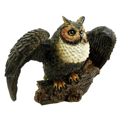 Michael Carr Great Horned Owl Statue, Spread Wings