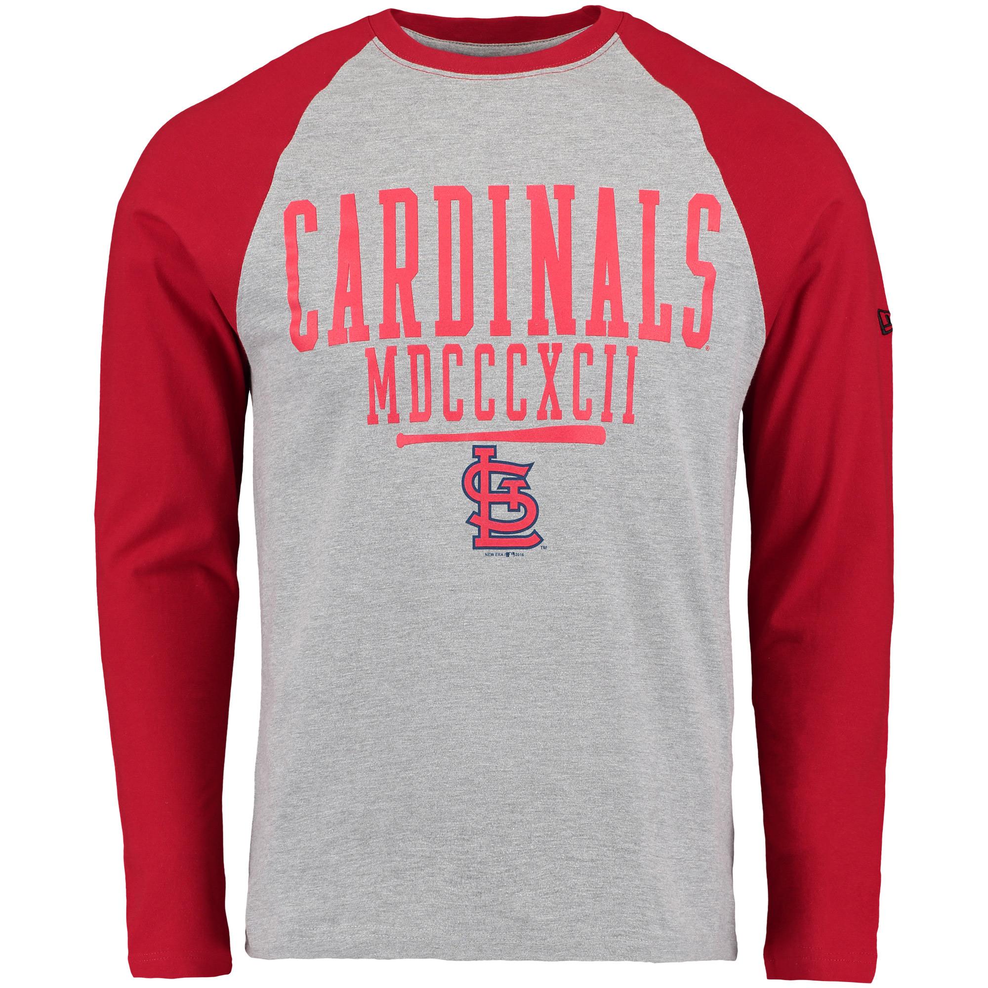 St. Louis Cardinals New Era Roman Numeral Long Sleeve Raglan T-Shirt - Heathered Gray/Red
