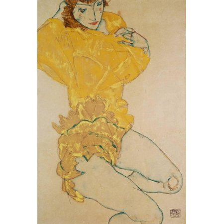 Egon Schiele Artwork - Woman Undressing, 1914 Yellow Expressionist Figurative Sketch Painting Print Wall Art By Egon Schiele