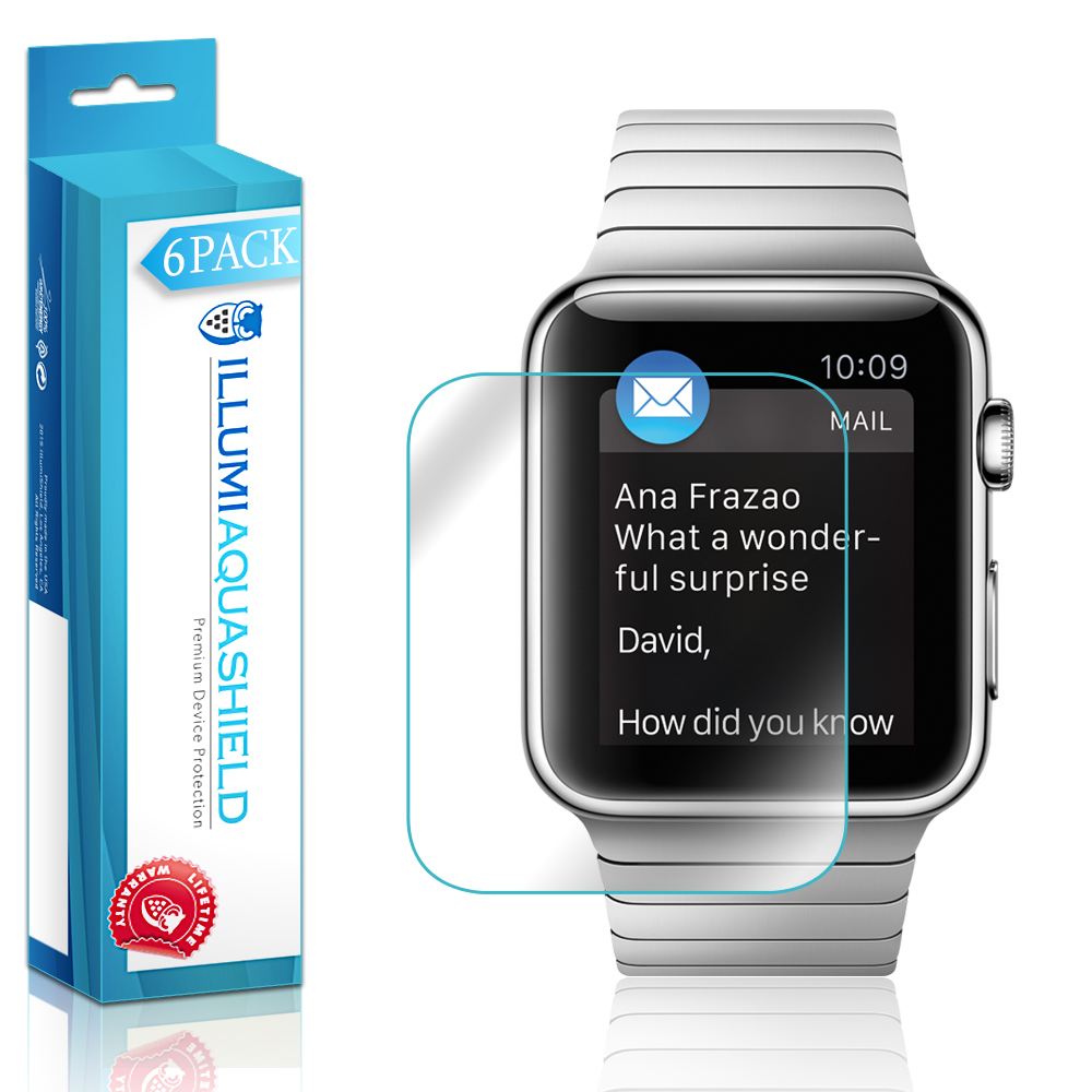6x iLLumi AquaShield Clear Screen Protector for Apple Watch (42mm Series 1 / 2)
