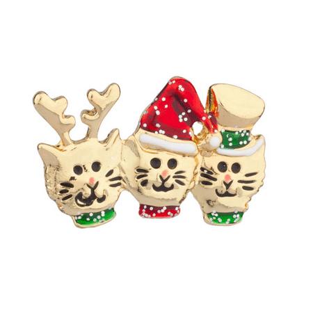 Lux Accessories Cat In Hat Reindeer Xmas Christmas Brooch