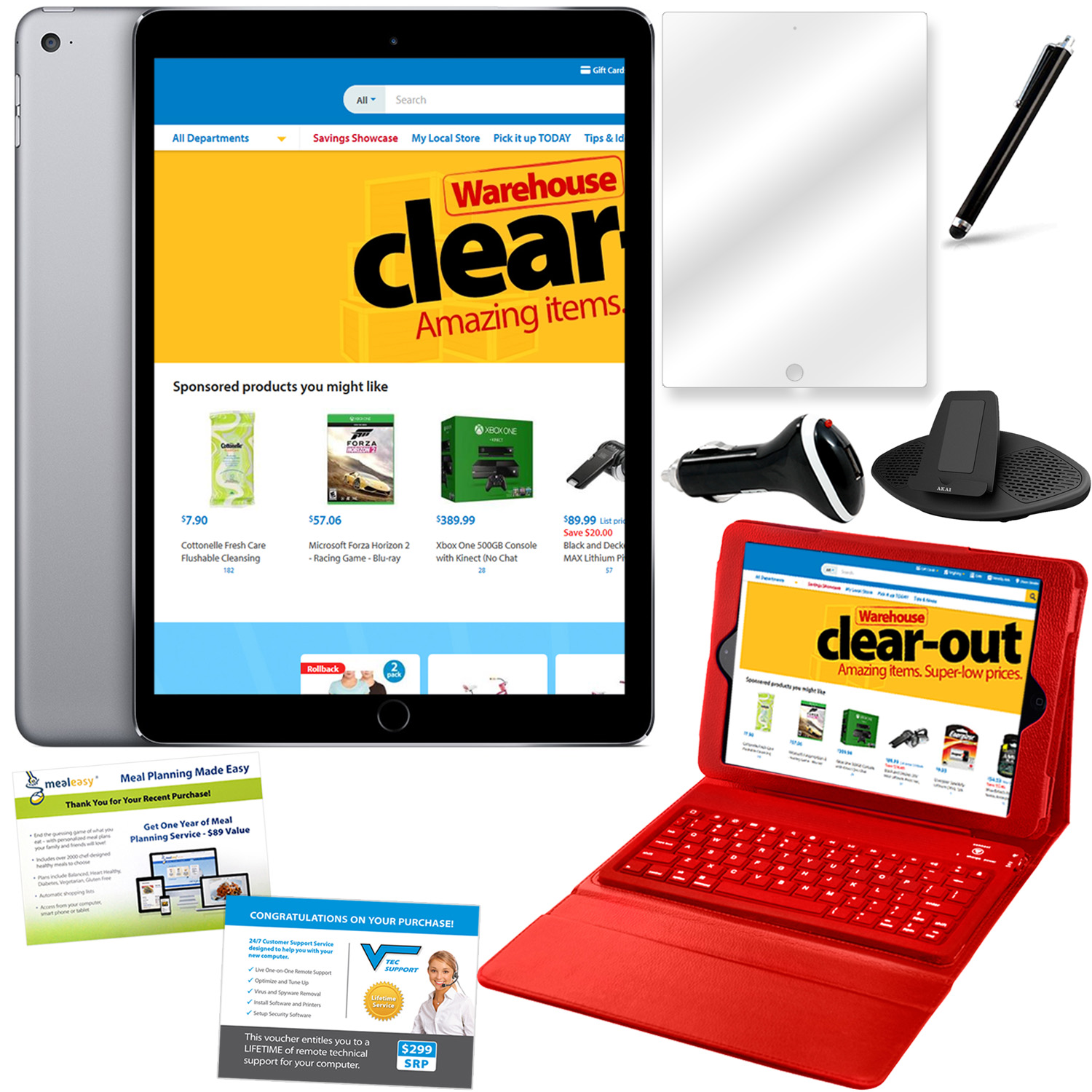 iPad Air 2 64GB Space Gray Bundle with Accessories- Red