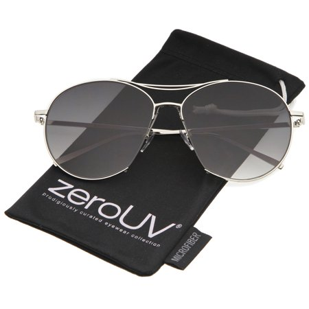 zerouv - oversized metal frame brow bar semi-rimless gradient flat lens aviator sunglasses 60mm - 60mm zerouv - oversized metal frame brow bar semi-rimless gradient flat lens aviator sunglasses 60mm (silver / lavender)