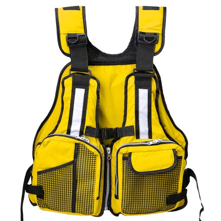 Adult Universal Fishing Life Jacket Boating Kayaking Drift Life Vest with Multi-Pockets and Reflective