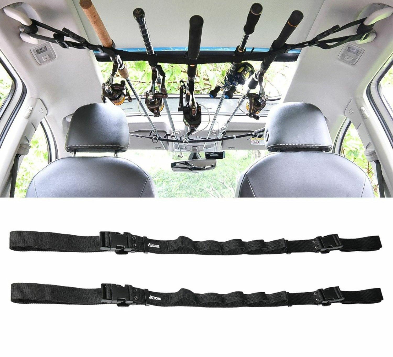 1//2 Pcs Car Fishing Rod Carrier Suspenders Fishing Rods Holder Belt Adjustable