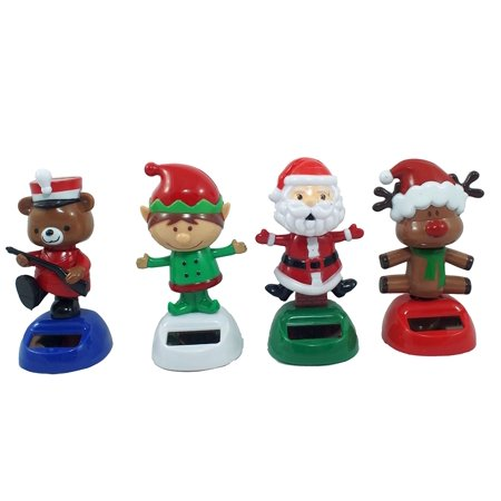Set of 4 Solar Powered Dancing Figurines (Santa, Elf, Red Nosed Reindeer and Bear) By Greenbrier International