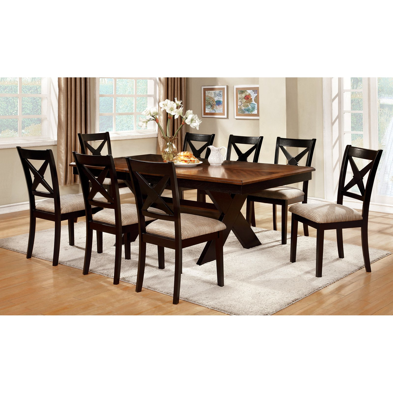 Furniture of America Argoyle Trestle Dining Table - Dark Oak / Black