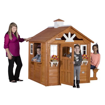 Backyard Discovery Summer Cottage Wooden Cedar Playhouse ...