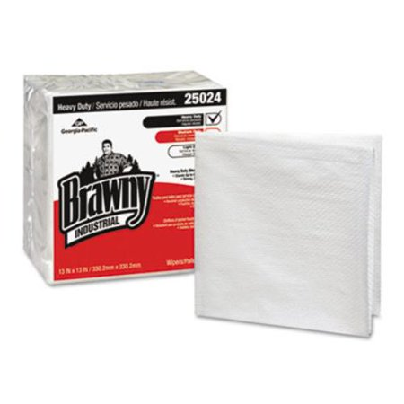 Georgia Pacific 250-24 Brawny Industrial Heavy Duty Qrtrfld Shop Towels, 13x13, White 70/pk 12 Pk/ct