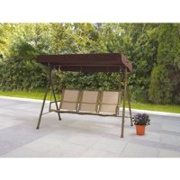 Mainstays Sand Dune 3-Person Outdoor Sling Canopy Porch Swing with Canopy, Dune