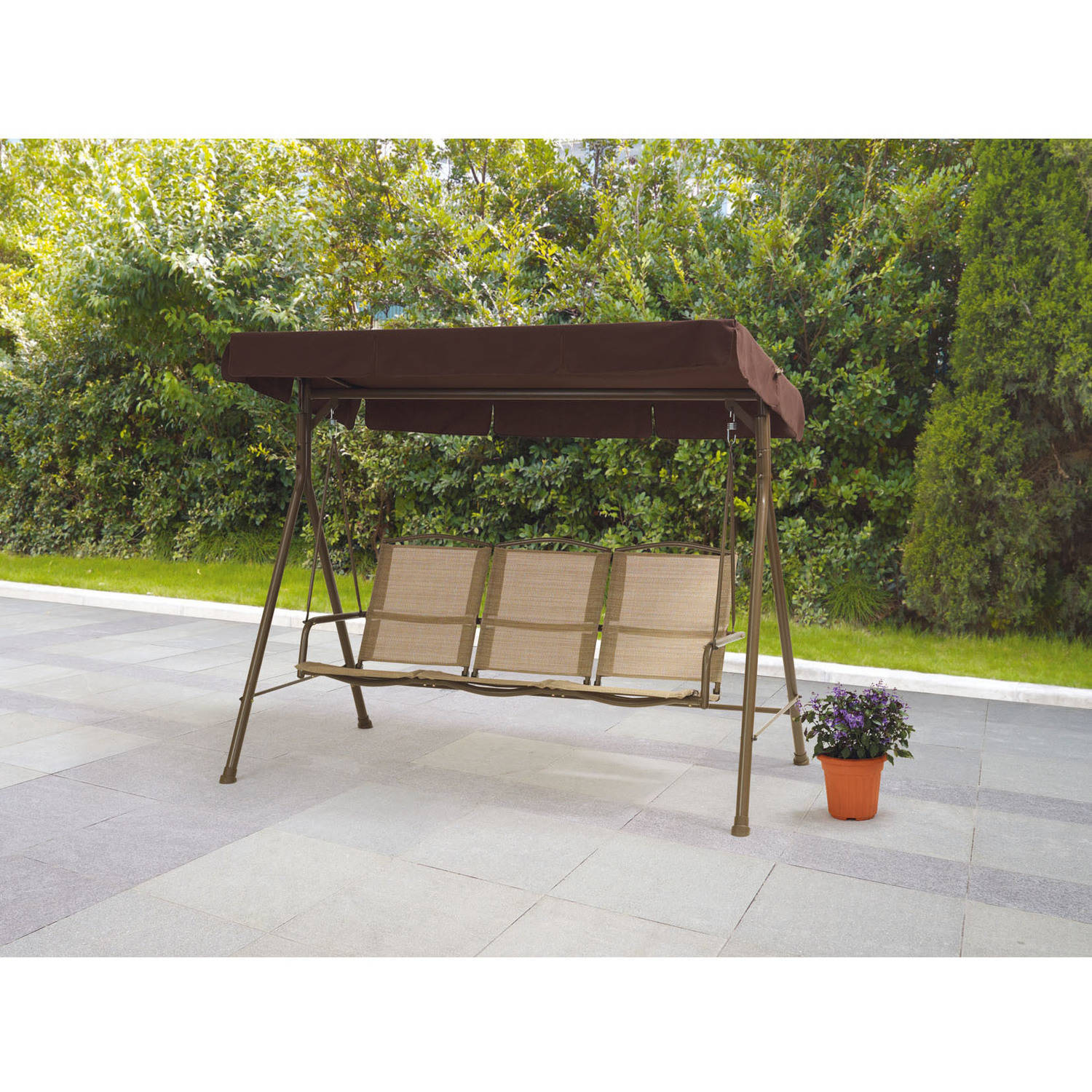Mainstays Sand Dune Outdoor Sling Swing with Canopy, Seats 3, Dune