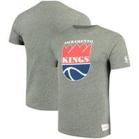 Sacramento Kings Mitchell & Ness Hardwood Classics Throwback Logo Tri-Blend T-Shirt - Heathered Red
