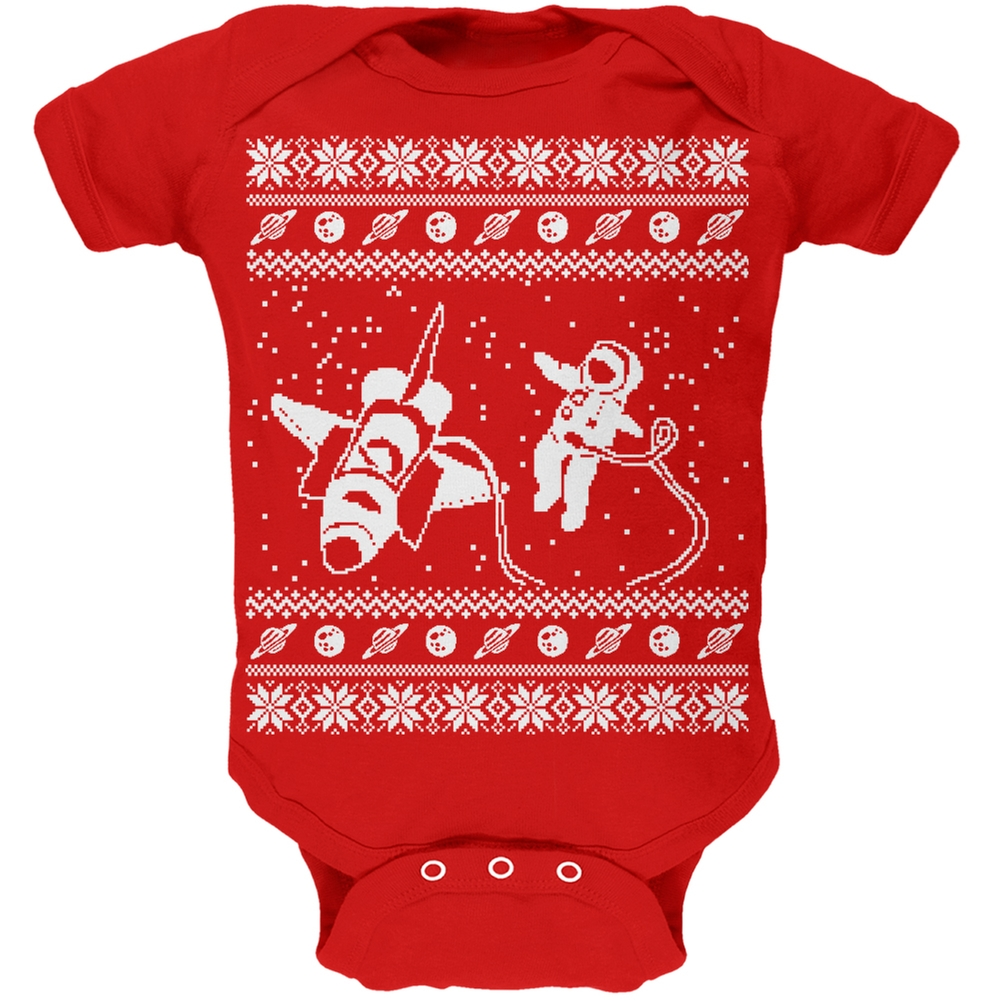 Astronaut in Space Ugly Christmas Sweater Red Soft Baby One Piece