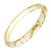 Cream Flourish Bangle Bracelet in 14kt Gold-Plated Sterling Silver