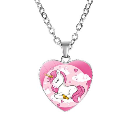 - KABOER Unicorn Necklace Pegasus Heart Shape Charm Alloy Pendant for Girls Women Birthday Party Gifts
