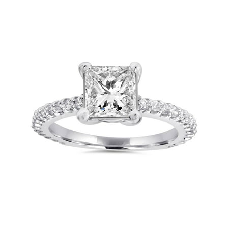 Princess Cut Diamond Engagement Ring 1.30Ct Big 14K White Gold Clarity