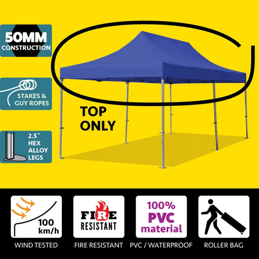 Party Tents Direct 10x20 50mm Speedy Pop Up Instant Canopy Event Tent Top ONLY, Blue