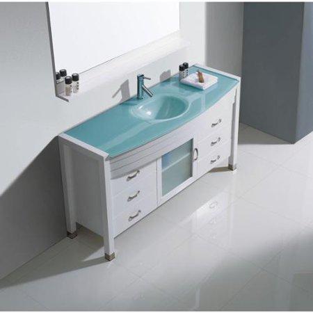 VIRTU USA Ava White 55 Inch Single Bathroom Vanity Cabinet Set