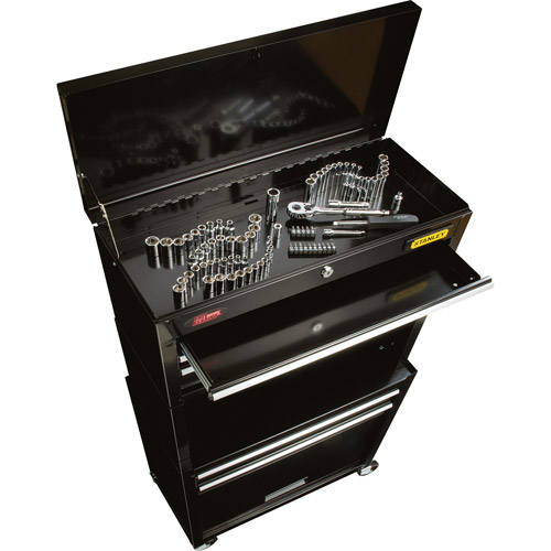 Stanley Rolling Tool Chest with Bonus 88-Piece Mechanical Tool Set, Black
