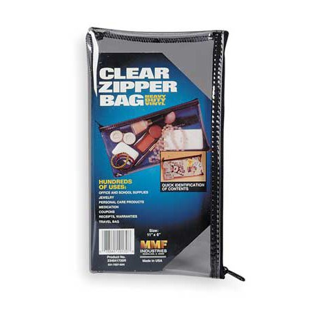 MMF INDUSTRIES 234041720R Zippered Cash Bag,6x11,Clear (Mmf Industries Seven Pin)