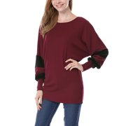 Women Color Block Batwing Sleeves Loose Tunic Top