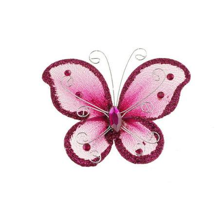 Flower Butterfly Glitter (Organza Nylon Glitter Butterflies, 2-inch, 12-Piece )
