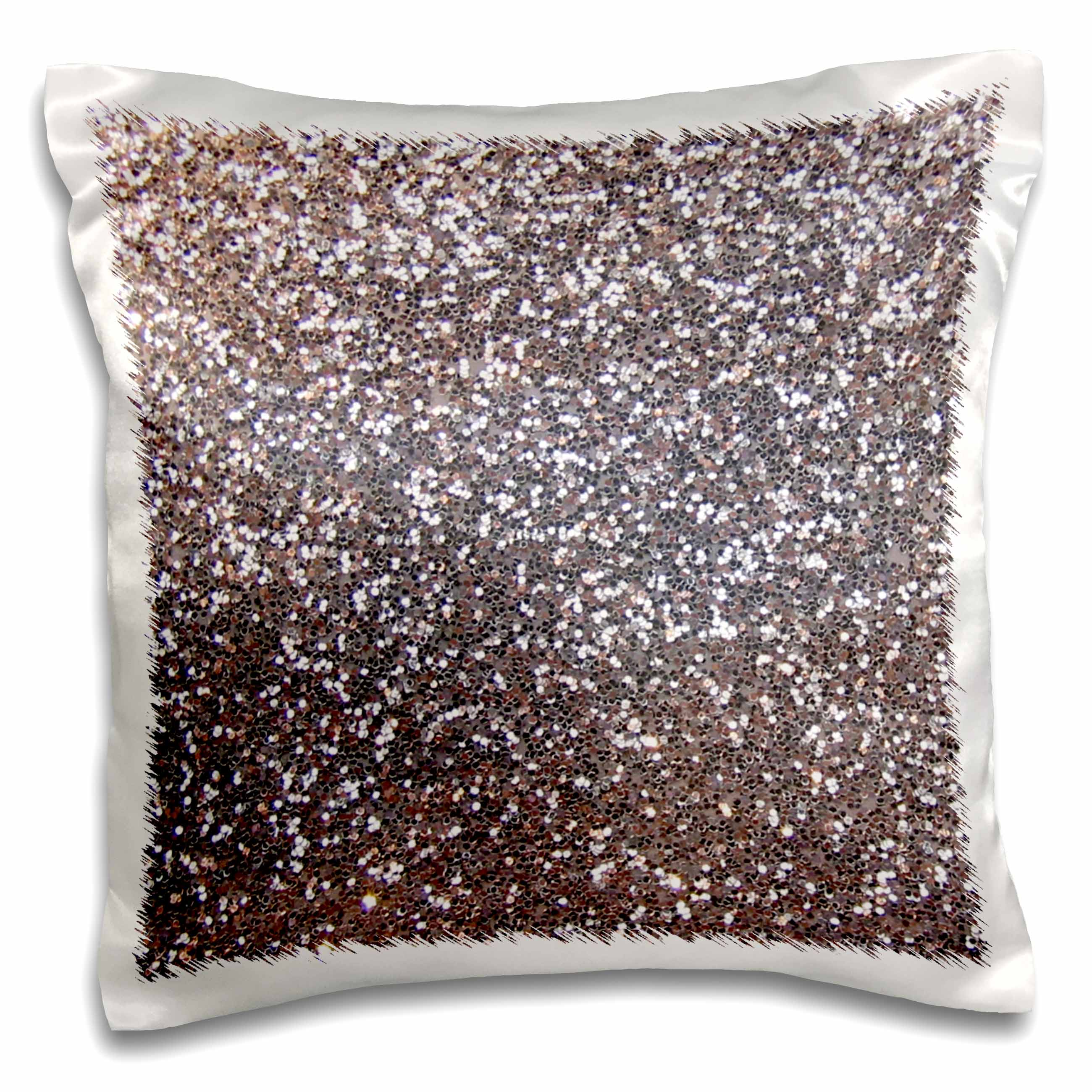 3dRose Silver Faux Glitter - photo of glittery texture - metallic sparkly bling - diva glam sequins glamor, Pillow Case, 16 by 16-inch