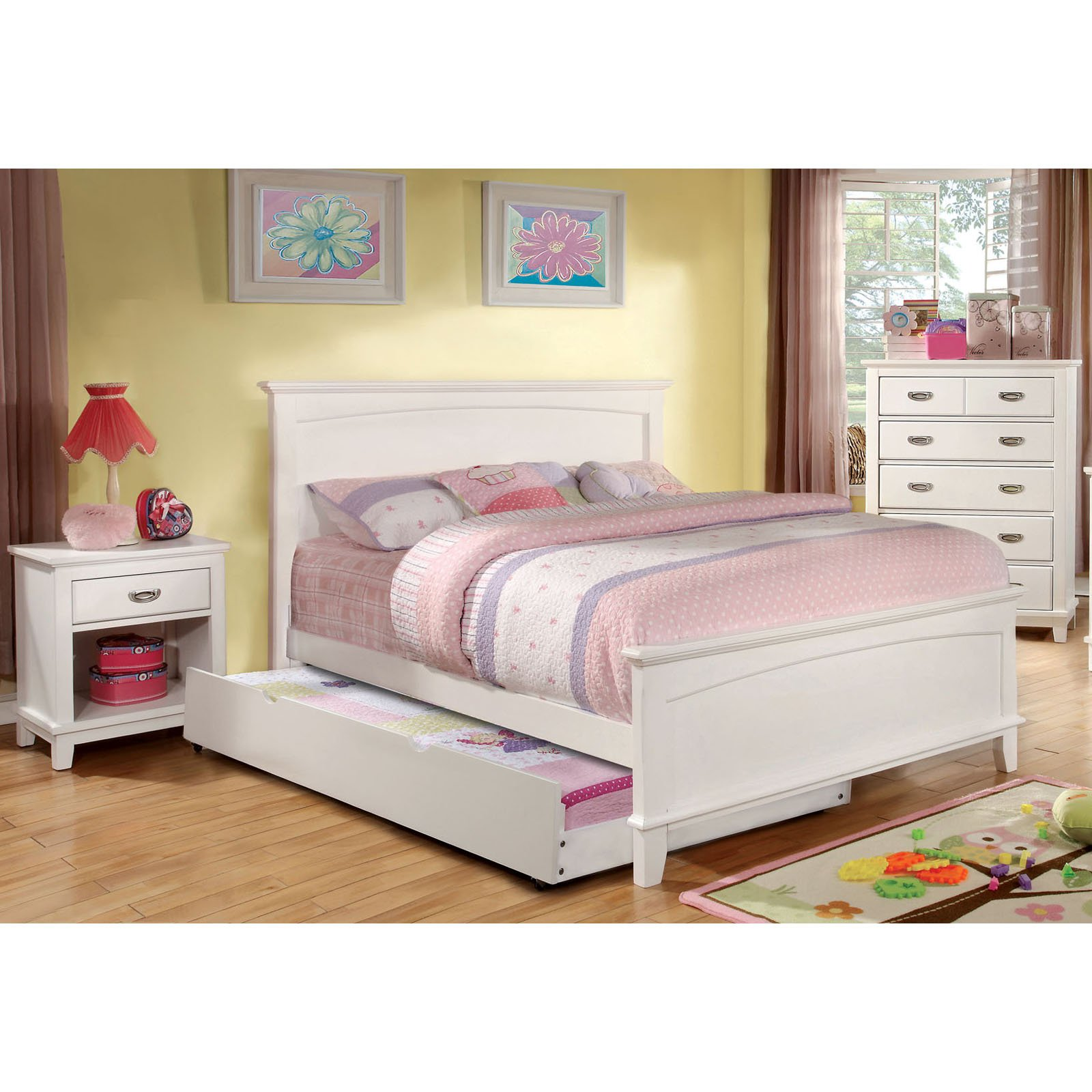 Furniture of America Alana Marie Inspired 3-Piece Bedroom Collection with Chest and Nightstand - White