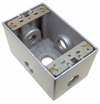 Weatherproof Boxes - One Gang Deep 24 Cubic Inch - 5 Outlet Holes 3/4in. Gray