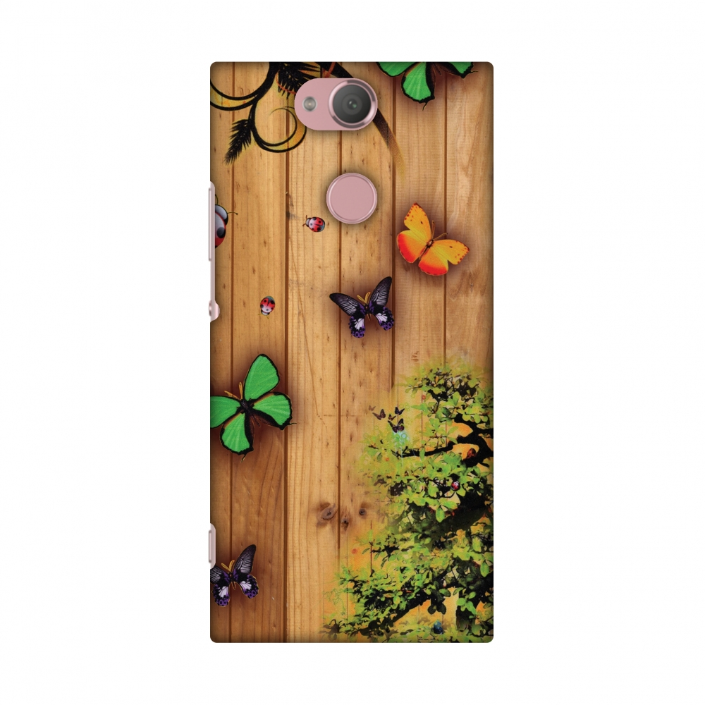 Sony Xperia XA2 Case, Premium Handcrafted Printed Designer Hard Snap On Case Back Cover with Screen Cleaning Kit for Sony Xperia XA2 - Bonsai Butterfly