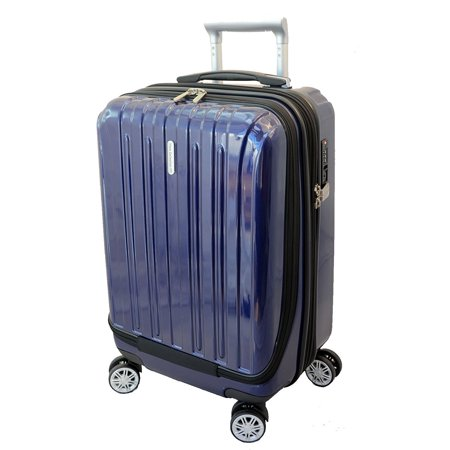 Luggage 20 inch Carry-on Expandable Spinner Trolley with pocket for computer (Blue