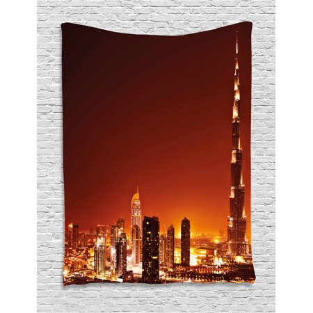 Landscape Tapestry, Arabic Dubai Downtown with Cityscape Skyscrapers Sunset Middle East City Photo, Wall Hanging for Bedroom Living Room Dorm Decor, 40W X 60L Inches, Multicolor, by Ambesonne