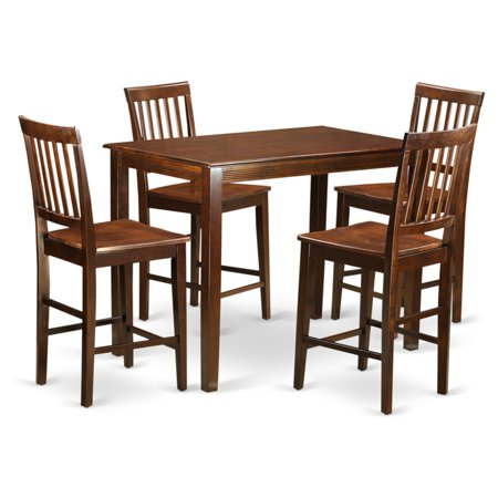 East West Furniture Yarmouth 5 Piece Slat Back Dining Table Set