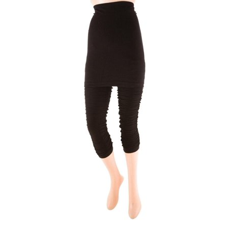 MeMoi Grinza Capri Skegging - Workout Leggings with Attached Skirt by MeMoi Medium/Large / Black MS2 027 - Skort With Leggings