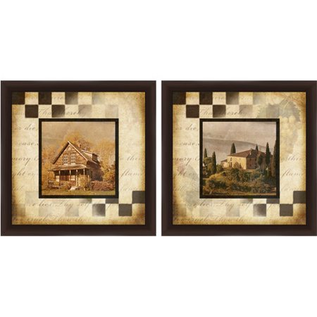 Cabin in the Woods Wall Art, Set of 2 - Painting Cabin In The Woods