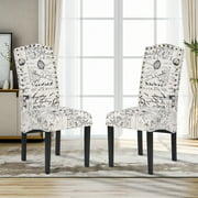 Kitchen Dining Chairs Set of 2, Linen Upholstered Dining Chairs with Nailhead Trim and Solid Wood Legs, Fabric Dining Room Chairs, Classic Accent Leisure Chair for Living Room Bedroom Hotel, W12221