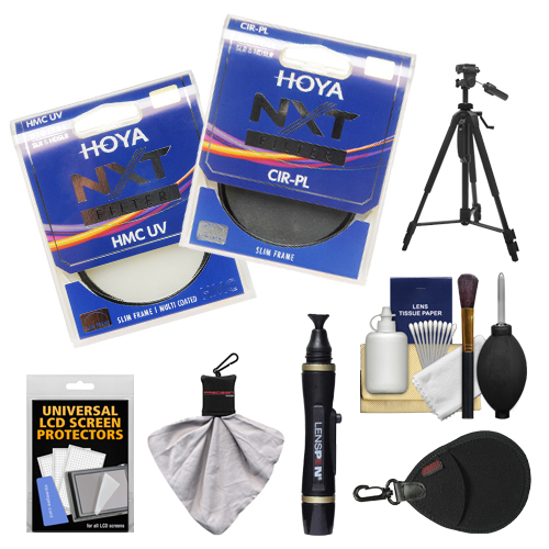 Hoya 77mm NXT (HMC UV + Circular Polarizer) Multi-Coated Glass Filters with Tripod + Accessory Kit