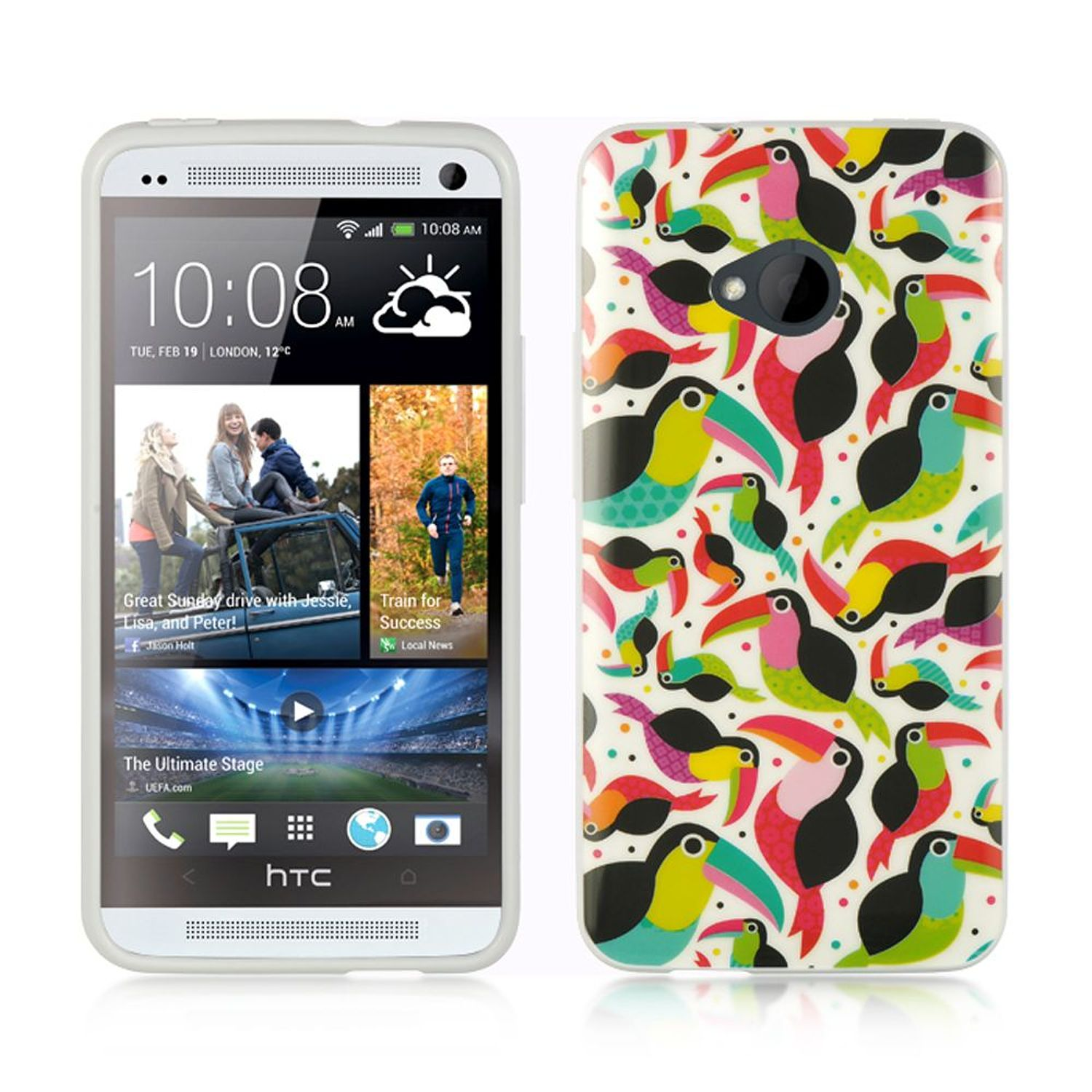 Insten TPU Cover Case For HTC One M7 - Colorful