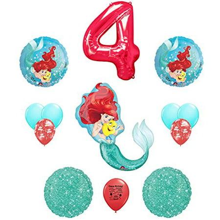 Little Mermaid Party Supplies Happy 4th Birthday Balloon Bouquet