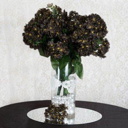 Chocolate Artificial Hydrangea Bush Wedding Vase Centerpiece Floral Decor