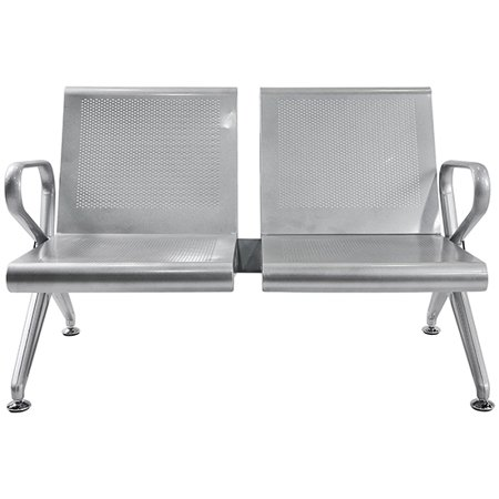 Heavy Duty Steel Office Reception Area Airport Waiting Room Chair 2 Seat Bench